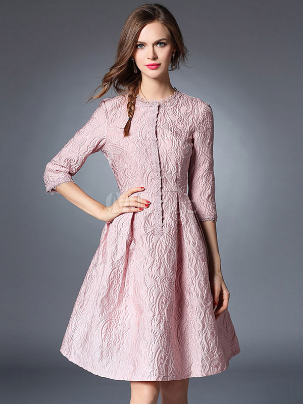 Pleated Skater Dress 3 4 Sleeve Jacquard Women S Pink High