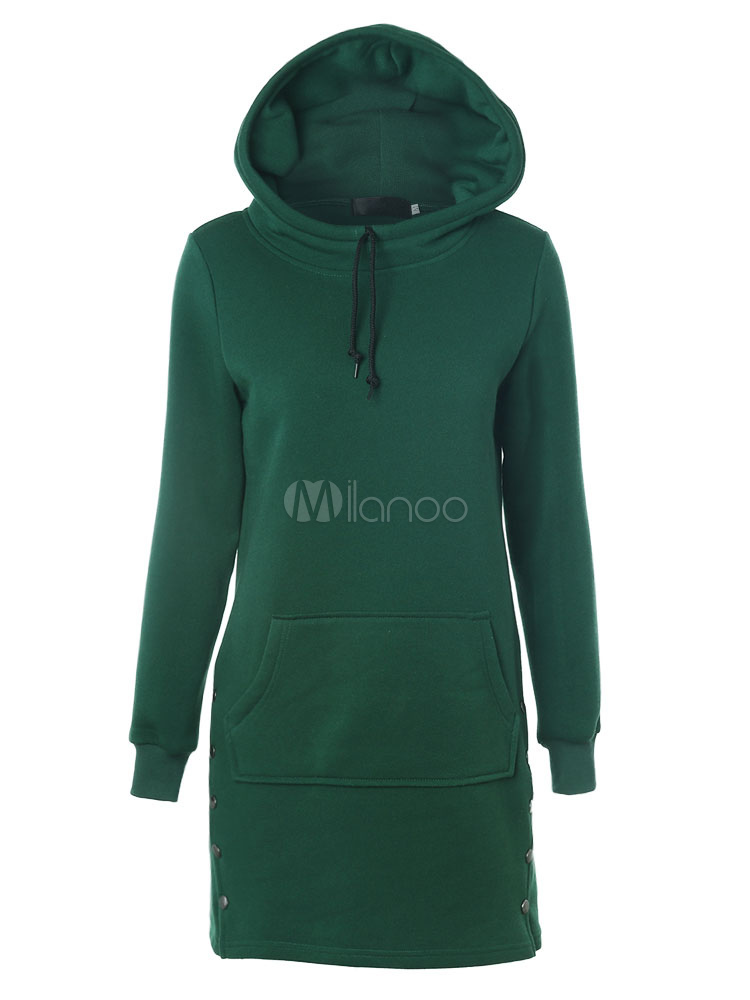 Buy Long Pullover Hoodie Women's Drawstring Pocket Cotton Hoodie For Winter for $23.39 in Milanoo store