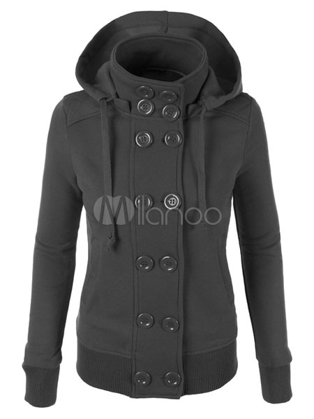 Women's Hoodie Jacket Front Button Double Breasted Drawstring Lined Winter Hoodie Cheap clothes, free shipping worldwide