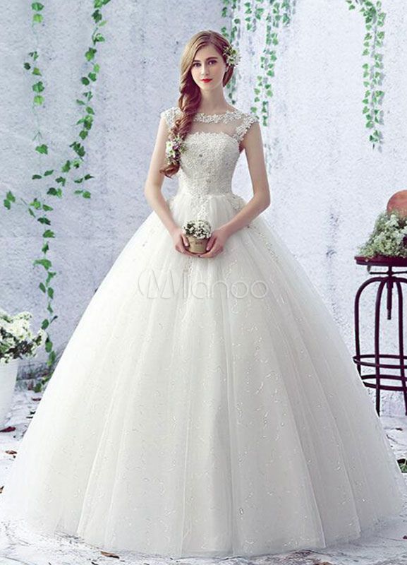 Milanoo / Backless Wedding Dress Illusion Neck Sequins Lace Flower Floor Length A Line Bridal Dress