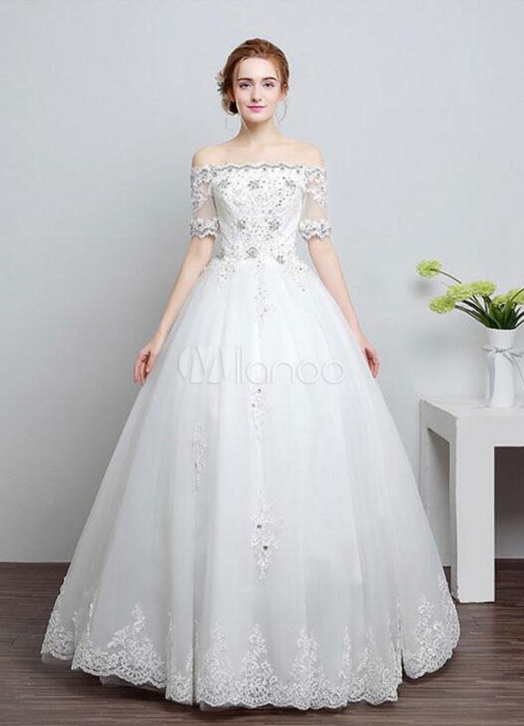 vestido de novia de encaje fuera del hombro vestido media manga