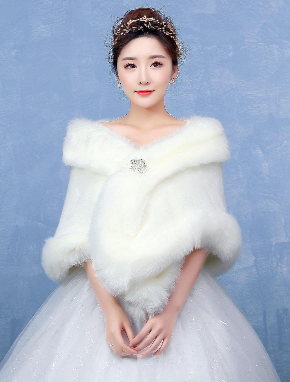 Ivory Wedding Wrap Faux Fur Rhinestone Clasp Sleeveless Wedding Shawl