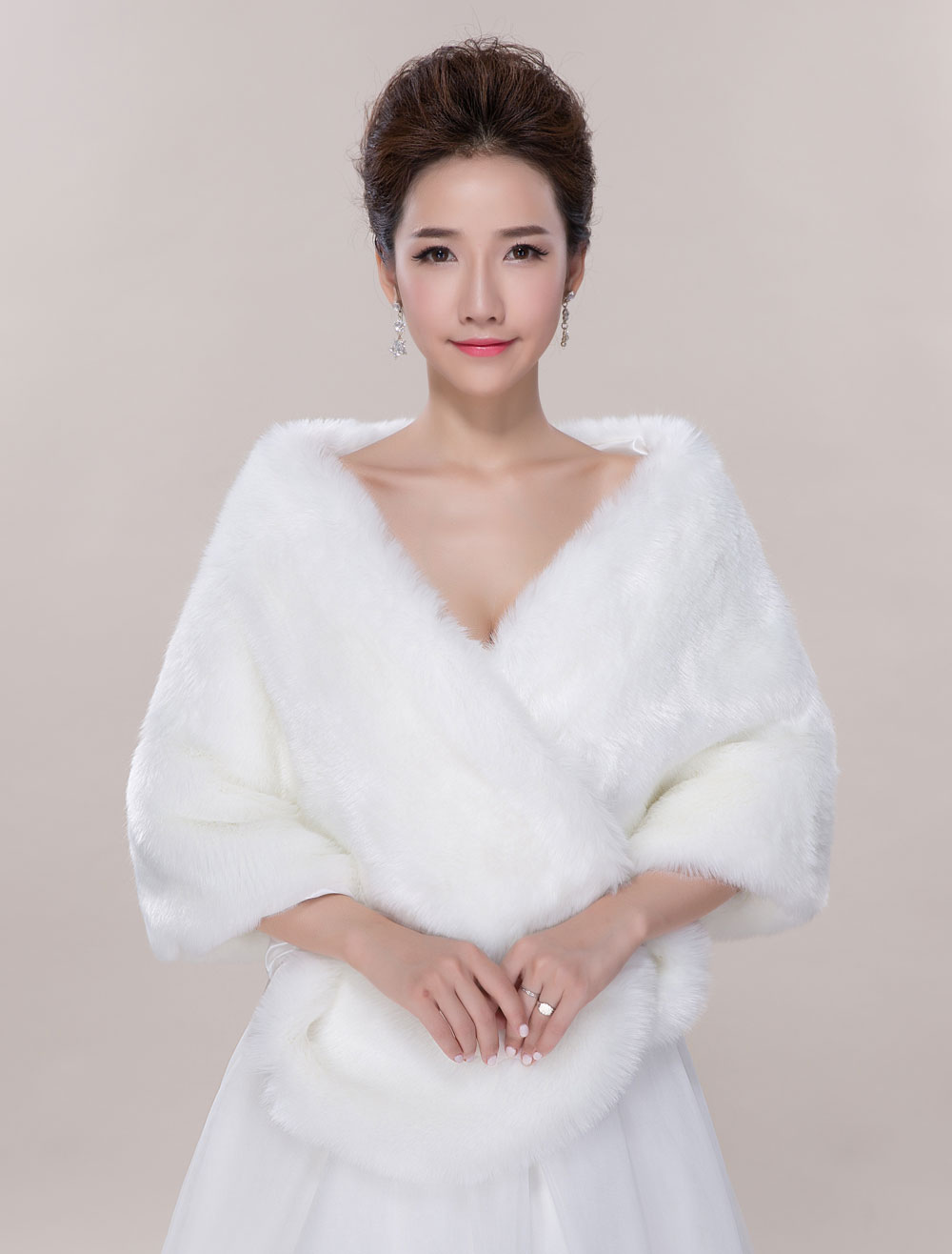 Ivory Wedding Wrap Faux Fur Sleeveless Open Front Bridal Shawl