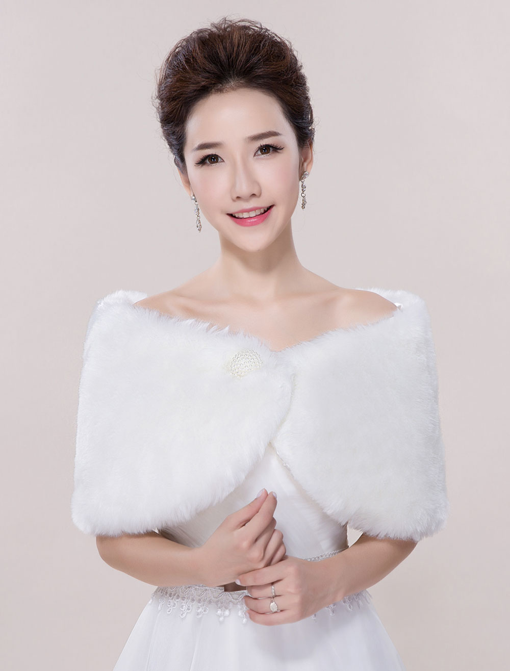 Ivory Wedding Wrap Faux Fur Sleeveless Bridal Shawl For Women