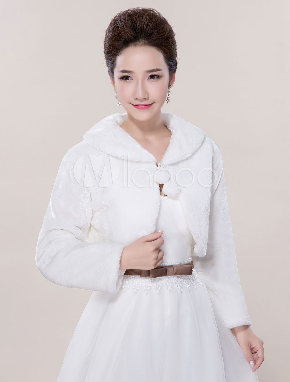 Faux Fur Wedding Jacket Shawls Long Sleeve Wedding Shrug Bolero Coat