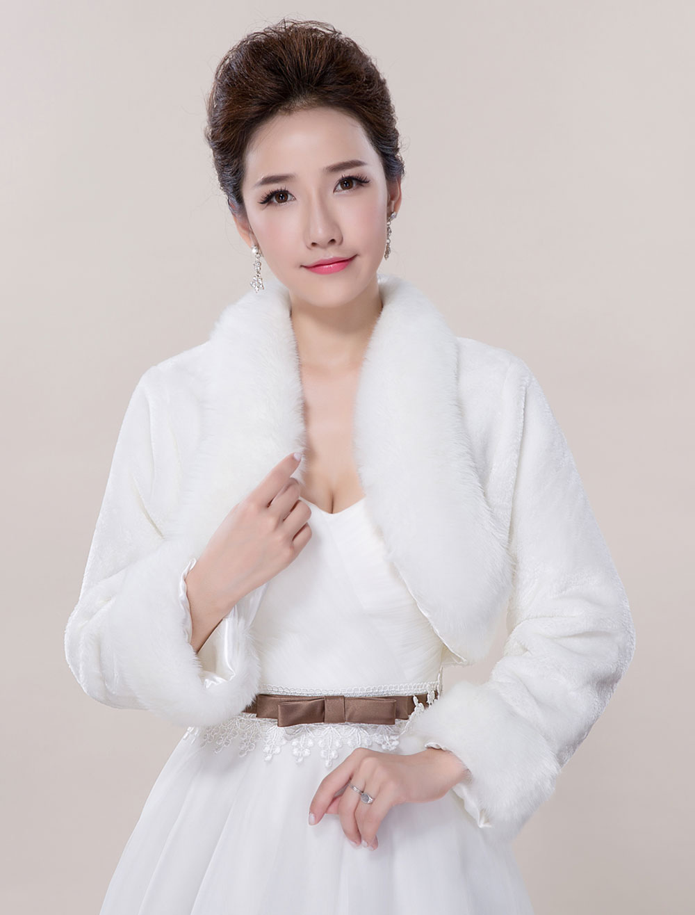 Wedding Bolero Jacket Faux Fur Long Sleeve Open Front Deluxe Bridal Jacket