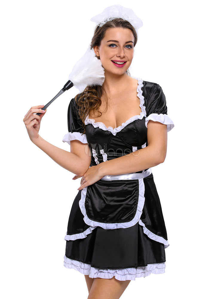 Buy Halloween Sexy French Maid Costume Women's Black Ruffle Half Sleeve Dress With Apron & Headgear Halloween for $31.34 in Milanoo store