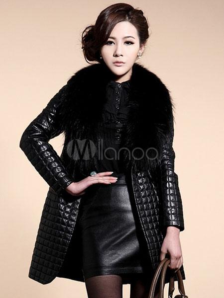 in vendita codici promozionali aliexpress In pelle nera inverno trapuntato cappotto donna con collo in pelliccia  ecologica