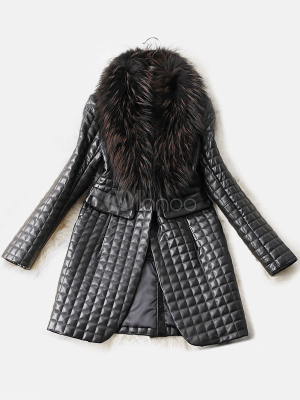 Leather Jacket Women Faux Fur Collar Black Long Sleeve Winter Quilted Coat Cheap clothes, free shipping worldwide