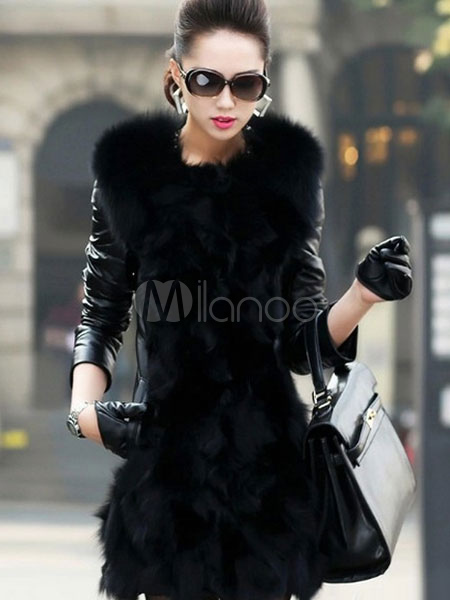 Leather Jacket Women Black Faux Fur Collar Long Sleeve Winter Quilted Coat