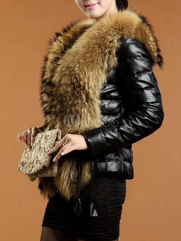 manteau fausse fourrure noir avec manches longues agrafe court manteau veste fausse fourrure. Black Bedroom Furniture Sets. Home Design Ideas