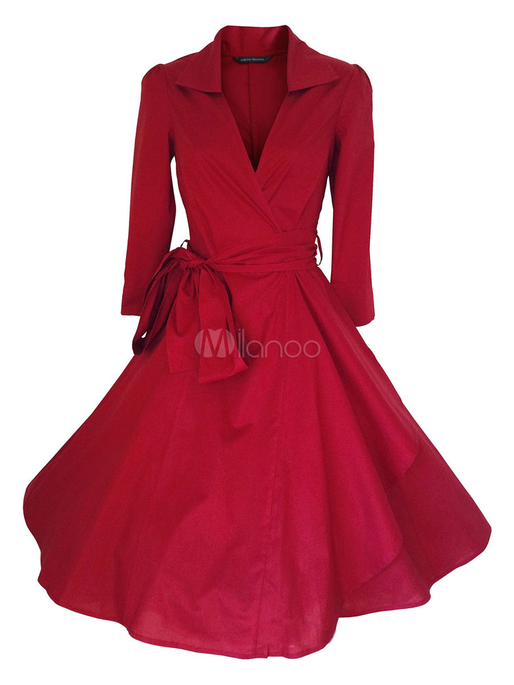 Women's Vintage Dress Long Sleeve A-line Flare Retro Dress With Sash Cheap clothes, free shipping worldwide