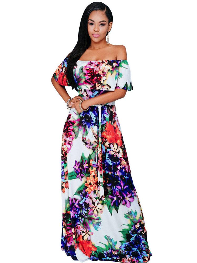 0d14f566c7 Boho Maxi abito femminile Multicolor floreale stampato omerale maniche  lunghe abito