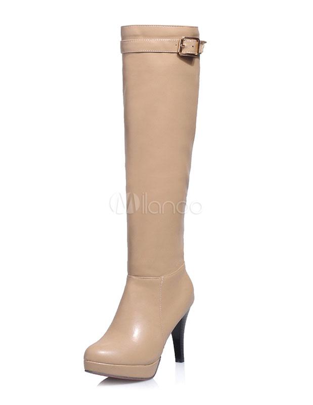 Buy High Heel Boots Knee High Platform Zipper Boots With Buckle For Women for $43.69 in Milanoo store