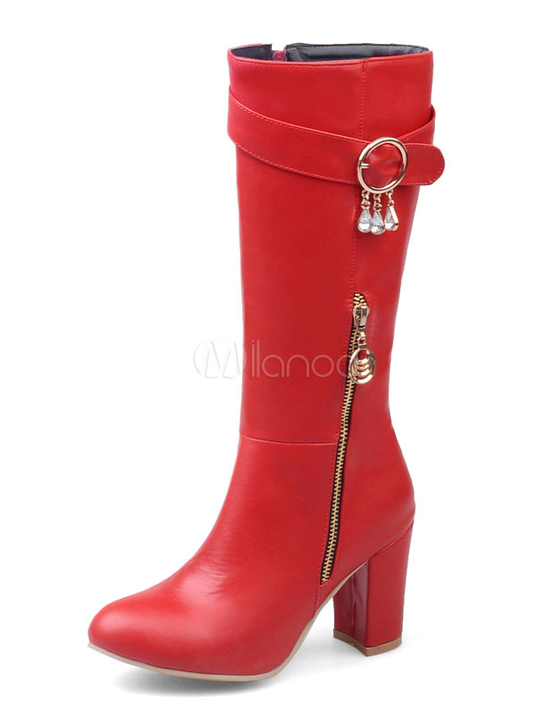 Buy Red Heel Boots High Heel Women's Zipper Round Toe Chunky Heel High Boots With Buckle for $46.54 in Milanoo store