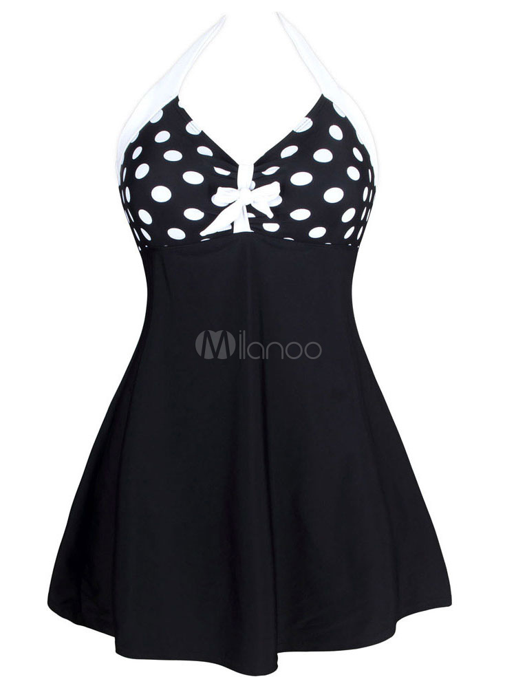 One Piece Swimsuit Black Polka Dot V-neck Women's Beach Swimwear