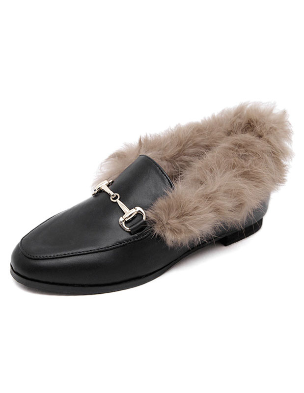 Faux Fur Loafers Women's Black Flat Round Toe Slip-on Shoes With Metal Details