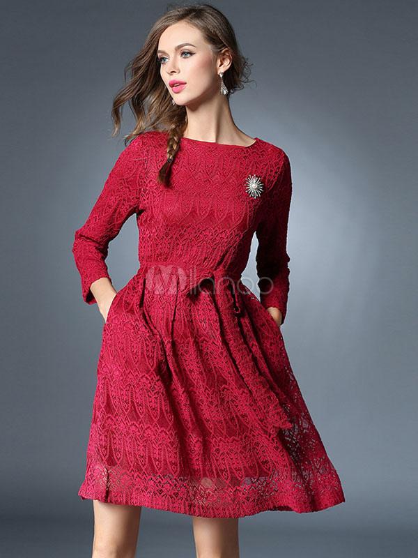 41209b96bd0b Pizzo abito manica lunga donna girocollo pieghe Flare vestito a pieghe con  Fascia-No.