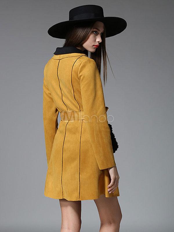 separation shoes 02172 b5f73 Gelb Wildleder Mantel Damen Langarm Belted Mantel mit stilvollen Taschen