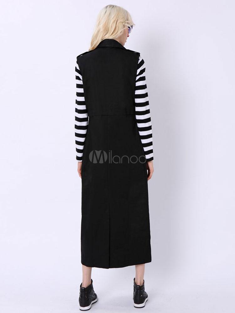 Milanoo / Long Black Vests Women's Turndown Collar Sleeveless Longline Blazer