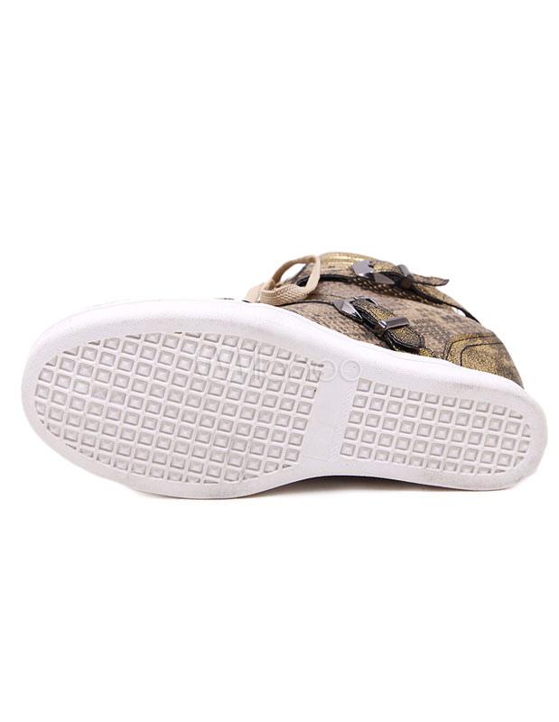 Damen Keil Sneaker Gold Snake Print Runde Zehe Schnürschuh versteckte Ferse Freizeitschuhe für Frauen