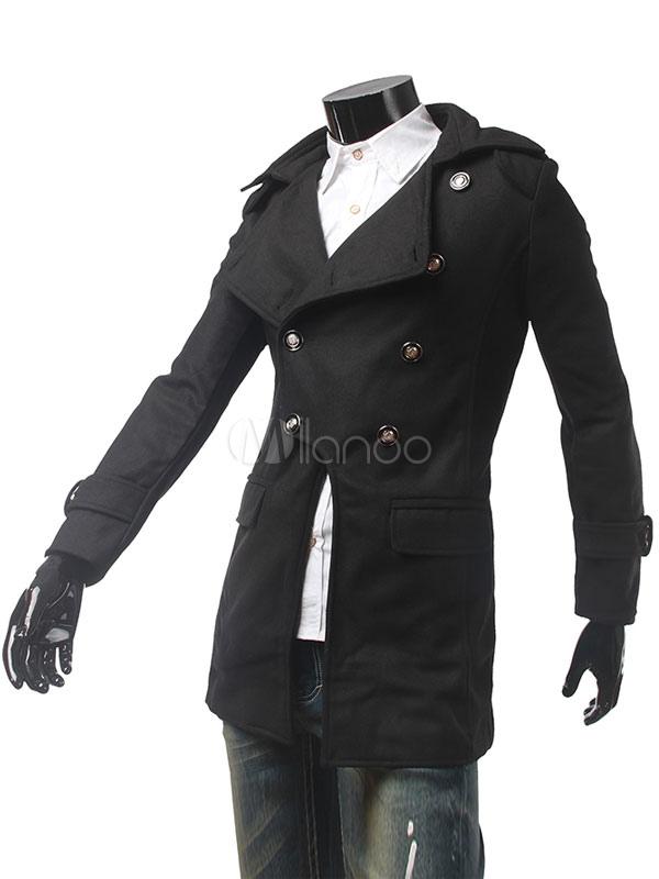 Buy Black Pea Coat Men's Double Breasted Cuff Strap Medium Stylish Winter Coat for $43.99 in Milanoo store