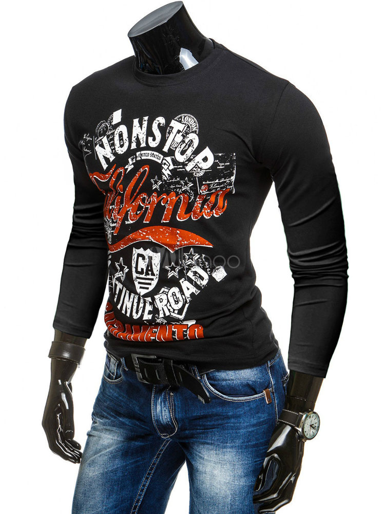 Buy Printed Black T-shirt Men's Long Sleeve Round Neck Cotton T-shirt for $22.49 in Milanoo store