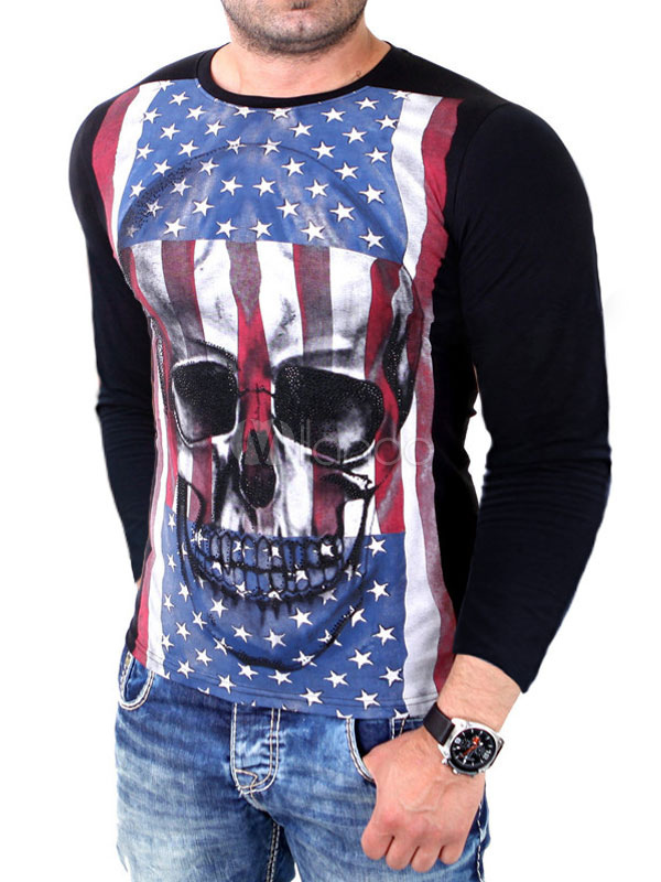 Buy Men's Black T-shirt Long Sleeve Skull Printed Round Neck Cotton T-shirt for $22.49 in Milanoo store