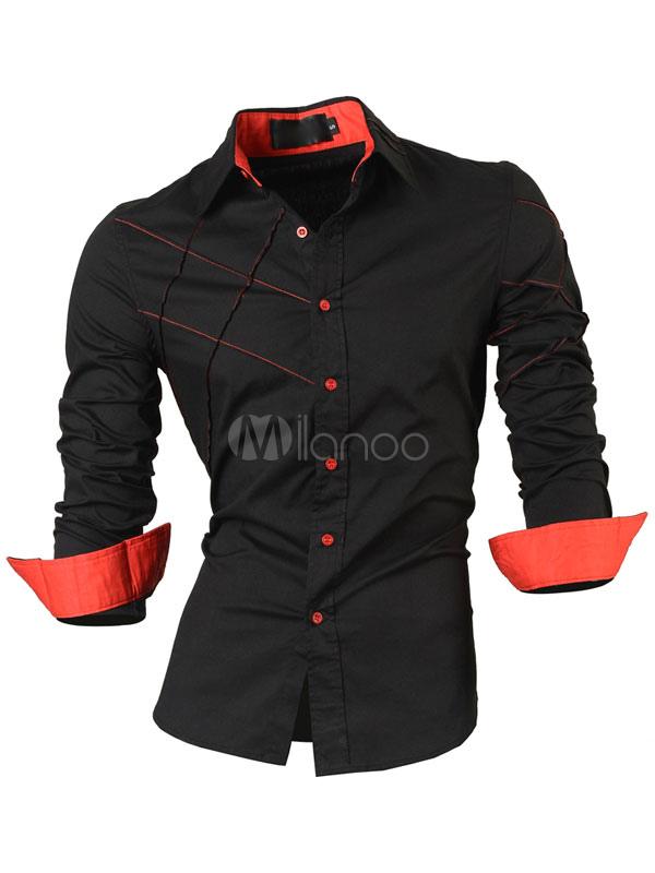 Black Casual Shirt Plus Size Two Tone Long Sleeve Button Cotton Shirt For Men