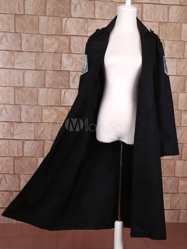 Buy Attack On Titan Shingeki No Kyojin Levi Black Cloak Cosplay Costume Survey Corps Scout Regiment Cloak Halloween for $26.09 in Milanoo store