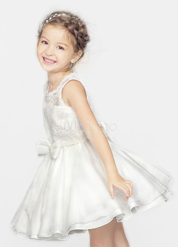 Flower Girl Dress Ivory Applique Bow Crewneck Princess Dinner Dress For Toddlers