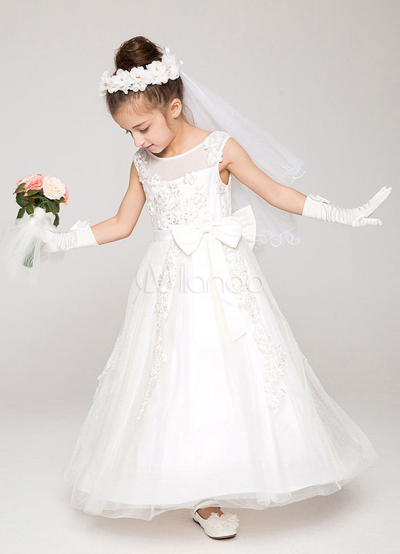 Buy Flower Girl Dress Lace Applique A-Line Crewneck Ankle-Length Pageant Dress With Bow for $82.64 in Milanoo store