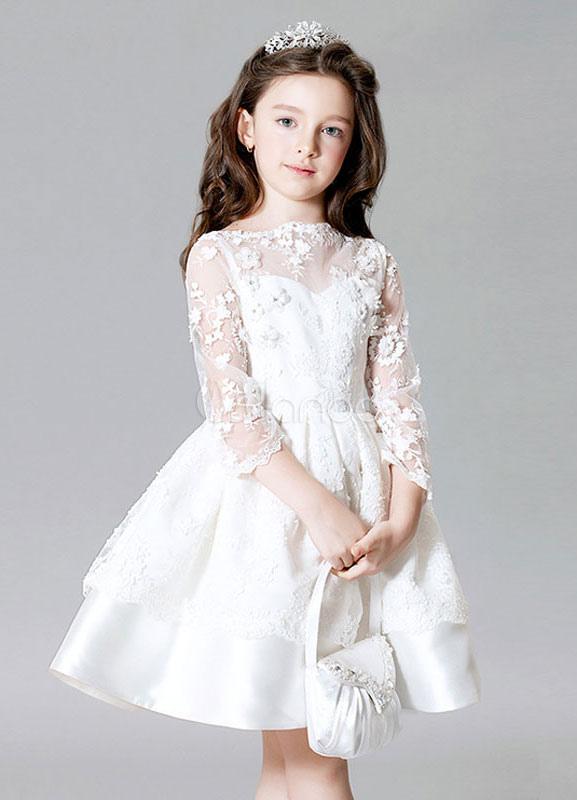Flower Girl Dress Illusion Sleeve Lace Flowers Kids' Beading Knee Length Satin Dress