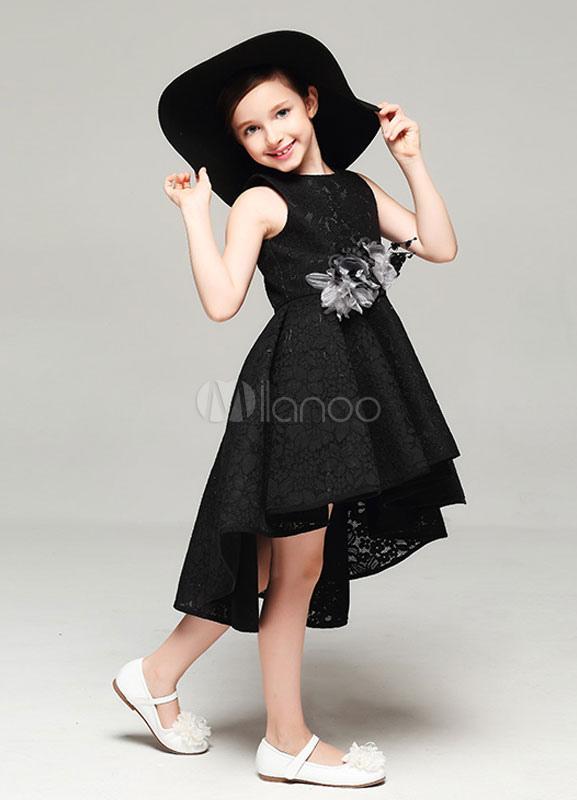 super popular 50d7e 31ed5 Fiore ragazza abito nero senza spalline a pieghe alto basso abito da sera  vestito di pizzo
