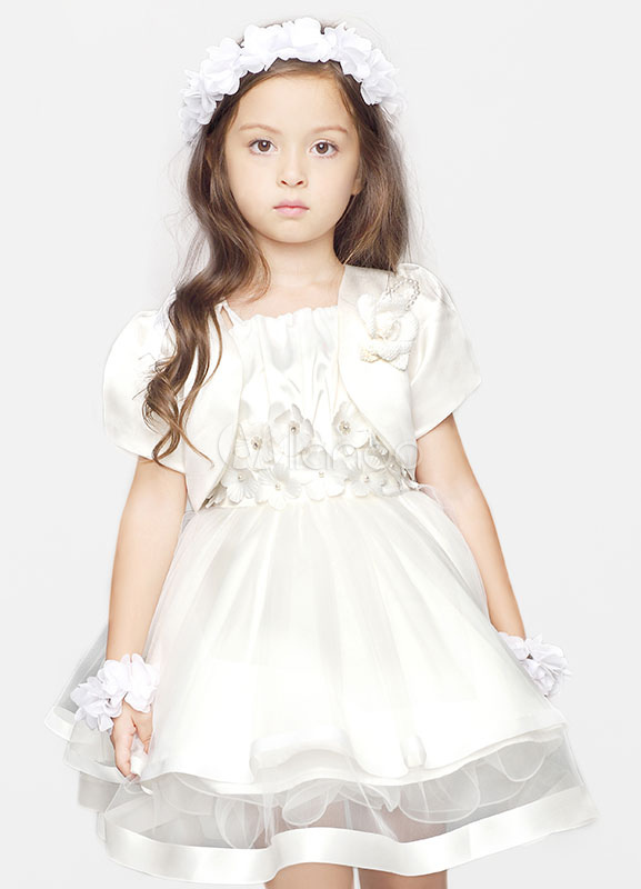 Buy Princess Flower Girl Dress Ivory Organza A-line Beaded Flowers Knee Length Short Pageant Dress With Bolero for $78.29 in Milanoo store