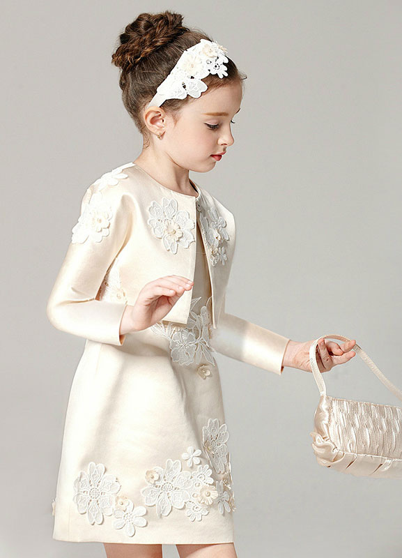 Champagne Flower Girl Dress Outfit A Line Flower Applique Beaded Knee Length Pageant Dress With Jacket