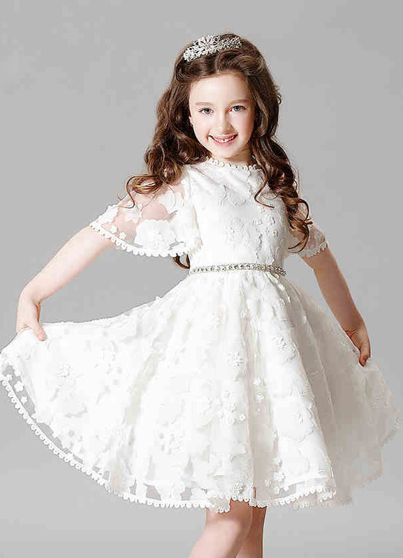 Buy Lace Flower Girl Dress Boho Princess Ivory A-line Illusion Bell Sleeve Knee Length Pageant Dress With Jeweled Sash for $76.49 in Milanoo store