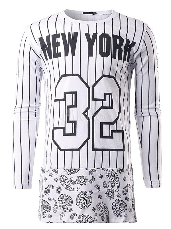 Buy White T Shirt Vertical Stripe Cotton Top Men's Jewel Neck Long Sleeve Split Long T Shirt for $23.39 in Milanoo store