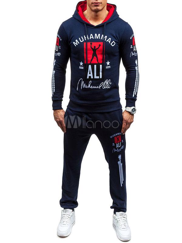 Printed Hoodie Sets Men's Pullover Hooded Sweatshirt With Long Pants