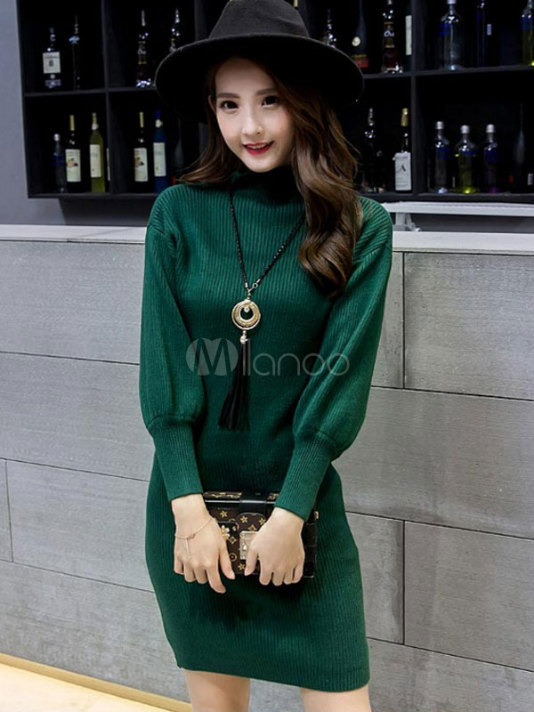 932a03a1795 Women's Sweater Dress Green High Collar Long Bishop Sleeve Cotton Slim Fit  Bodycon Dress- ...