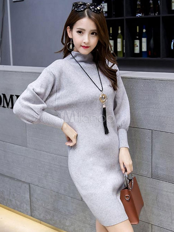 6a4558fc560 ... Women's Sweater Dress Green High Collar Long Bishop Sleeve Cotton Slim  Fit Bodycon Dress- ...