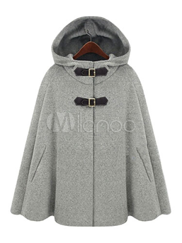 Wool Poncho Mantel Hooded Damen Übergrößed Grau Winter Mantel