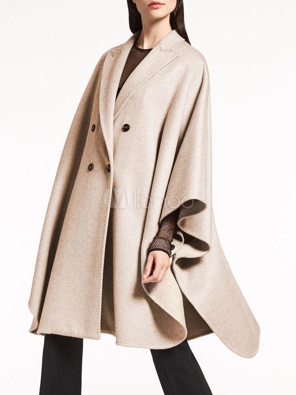 Women's Wool Peacoat Double-Breasted 3/4 Sleeve Oversize Winter Coat