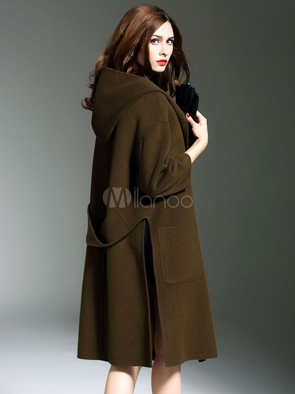 Giacche e cappotti di Spalato lana viola cappotto donna Chic a manica lunga con cappuccio