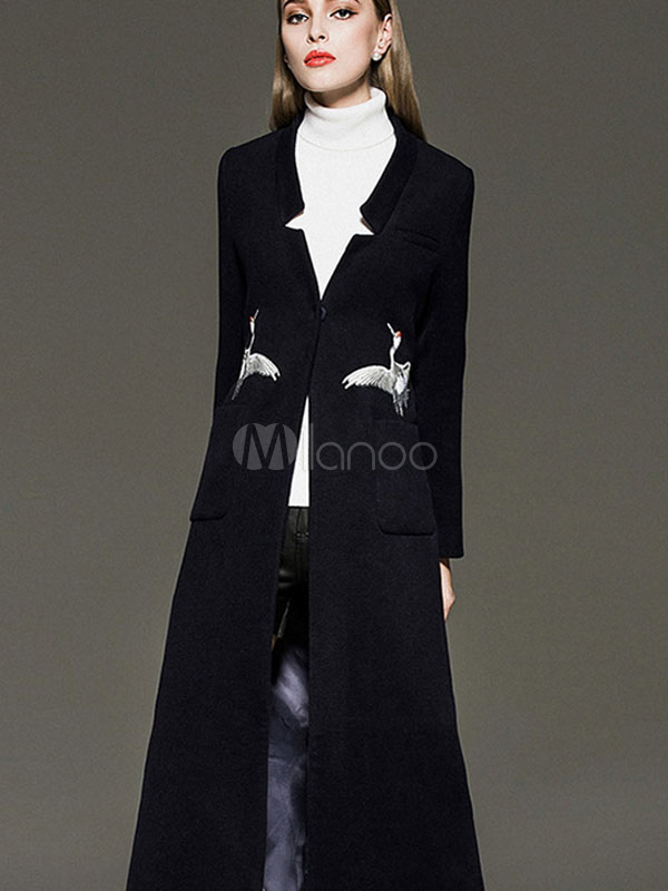 Black Wool Coat Women's 1-Button Japonensis Embroidered Back Strap Slim Fit Long Coat