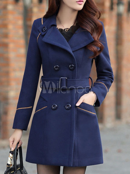 Buy Women Peacoat Dark Navy Turndown Collar Long Sleeve Double Breasted Sash Woolen Overcoat for $79.99 in Milanoo store