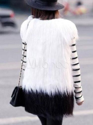 Milanoo / Faux Fur Coat White Sleeveless V Neck Slim Fit Winter Coat For Women