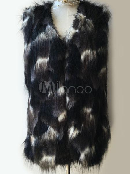 fausse fourrure manteau bicolore sans manches ouvertes. Black Bedroom Furniture Sets. Home Design Ideas