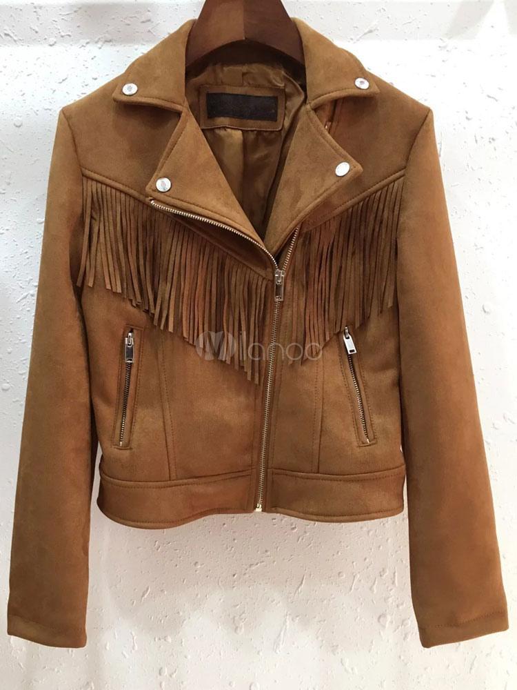 Short Suede Jacket Tassels Women's Oblique Zipper Deep Brown Winter Moto Jacket