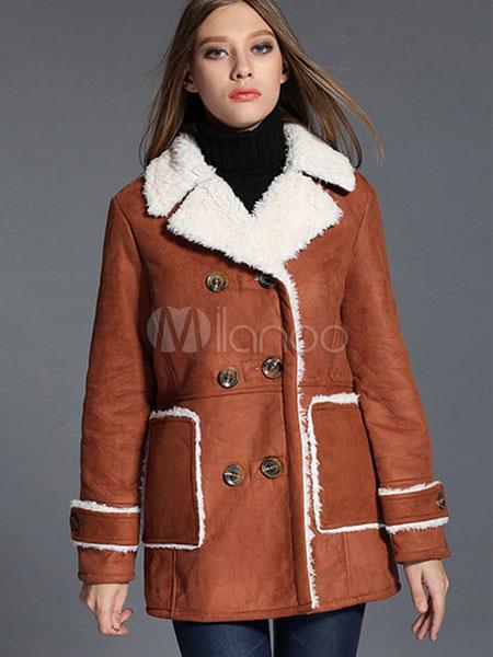 huge selection of e81ac 39b55 Foderato cinturino camoscio pisello cappotto donna doppio petto cappotto di  inverno